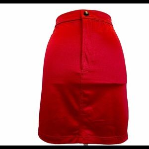 Red stretchy satin finish zip up skirt size large